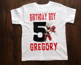 Red Power Ranger birthday shirt with name Red Ranger Steel boys shirt with name