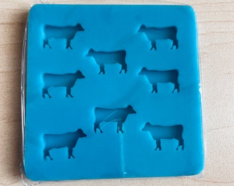 Shiny Silicone Mold  Small Large  Ranching  Jewelry  Resin Art  Cattle  Farm Life  Key Chain Medium COW TAG