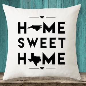Missouri Texas Home Sweet Home State Maps Throw Pillow Etsy