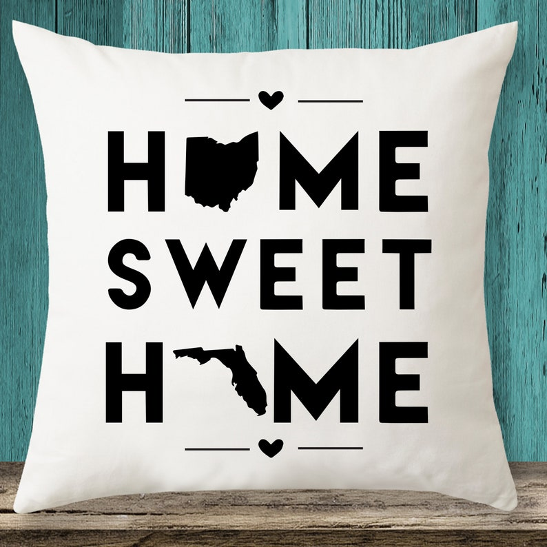 Ohio & Florida  Home Sweet Home State maps throw pillow cover image 0