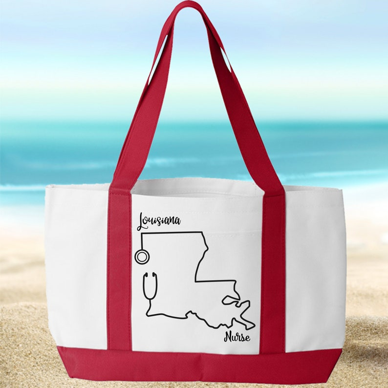 Choose from 5 colors Present for Nurse Canvas Tote Personalized Nurse Tote with pocket Louisiana Nurse Large Tote Bag with FREE SHIPPING