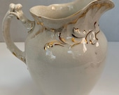 ANTIQUE Alfred Meakin Ironstone Pitcher Ivory with Gold, 7 quot Tall, Royal Semi-Porcelain
