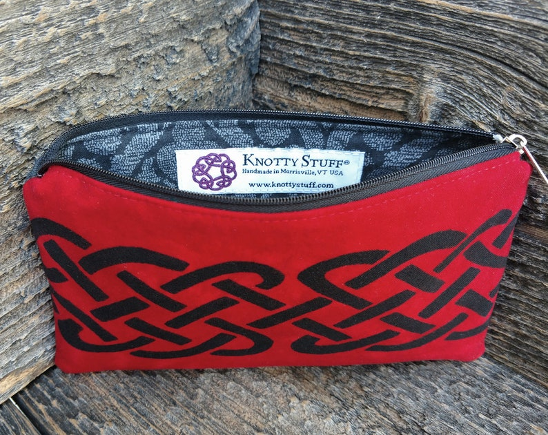 Large Celtic Pouch Red /& Black Celtic Knot Batik Zipper Pouch Celtic Makeup Case Travel Pouch Celtic Accessories Gift for Her