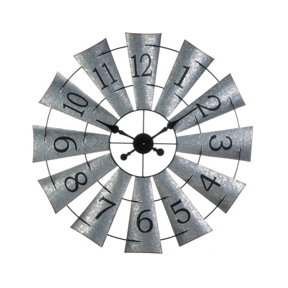 Galvanized Metal Windmill Wall Clock