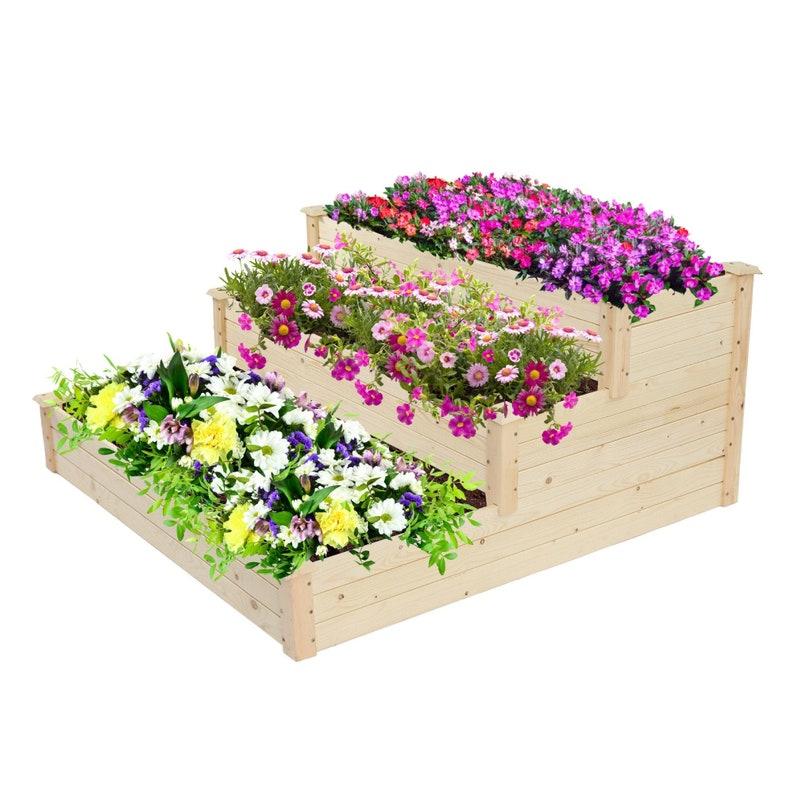 3-Tier Ground Wooden Planter Box