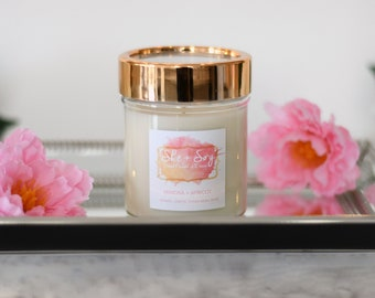 Apricot + Mimosa 100% Soy Hand Poured Candle 10 oz