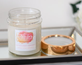 Cactus Flower + Bergamot 100% Soy Hand Poured Candle 10 oz
