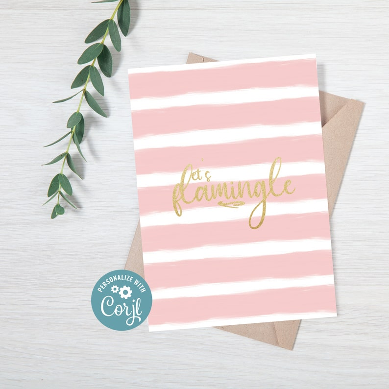 Pink and Gold Flamingo Birthday Invite Drive By Flamingo Birthday Invitations for Girls INSTANT DOWNLOAD