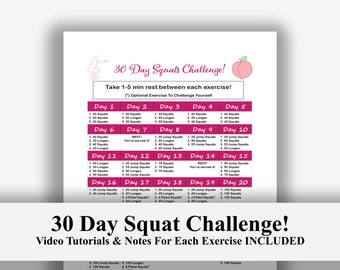 image relating to 30 Day Squat Challenge Printable called Squat problem Etsy
