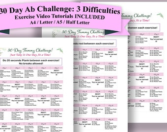 image relating to Printable 30 Day Ab Challenge identify Ab concern Etsy