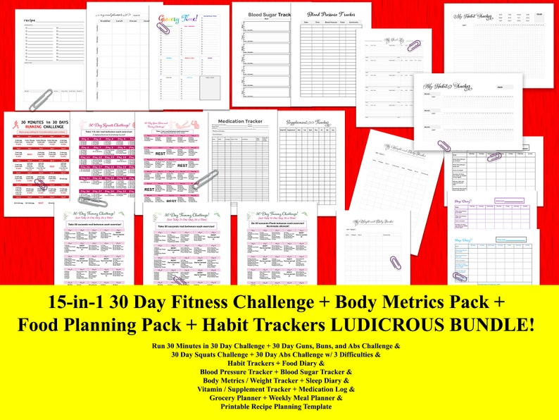 image regarding 30 Day Abs Challenge Printable named 30-Working day Abdominal muscles, Squat, Work out, Aerobic Health and fitness Troubles + Human body Tracker Pack + Behavior Trackers + Supper Coming up with Conditioning Deal, 15-inside of-1!