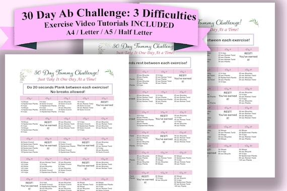 It is a picture of Printable 30 Day Ab Challenge throughout 3 month