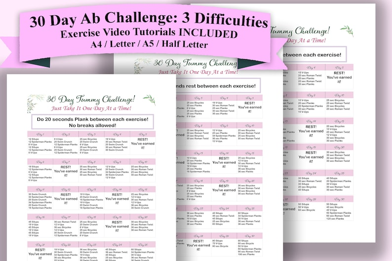 image relating to 30 Day Abs Challenge Printable identify 30 Working day Abdominal muscles Trouble Health and fitness Planner Printable Shrink Your Abdomen With This Conditioning Problem