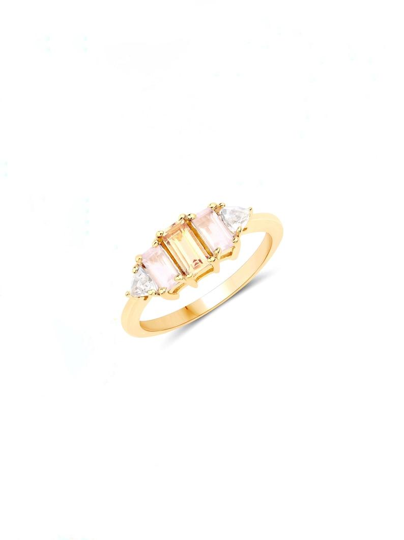 Sunset Skyline Ring Feminine Romantic Modern Baguette Rose Morganite Ring