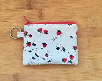 Mini Zipper Pouch Keychain, Strawberries