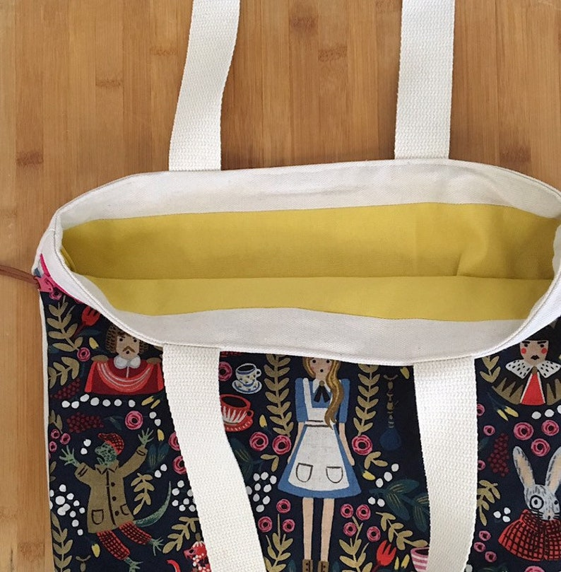 Large Zipper Pocket Canvas Tote Rifle Paper Co Alice in Wonderland
