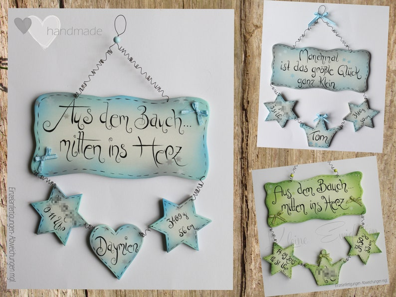 handmade wooden decoration  name tag for birth birth table image 1