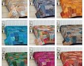 Indian Handmade Vintage Patchwork Quilts Kantha Quilts Boho King Size Bedding Throw Blanket Gudri Bedspread Quilting Hippie Indian Quilt