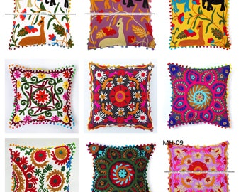 Embroidered Cushion Cover Handmade Floral Bohemian Decorative Indian Set of 5 Pc