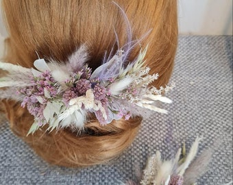 Hair Jewelry and Badge Bridal Jewelry Flower Comb Hair came Dry Flowers Autumn Boho Wedding Photo Shoot Lilac Accessories