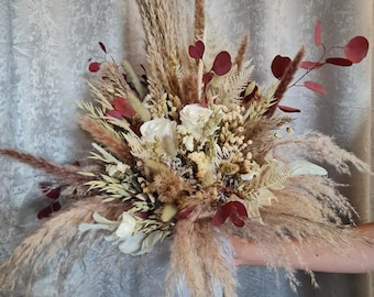 Set Bridal Bouquet Large with Pin Infinity Rose White Natural Dry Flower Bouquet with Eucalyptus Boho Bouquet Dry Flowers Wedding