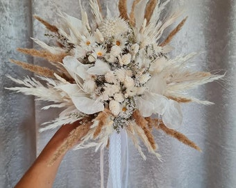 Set Bridal Bouquet with Pin, Hair Comb Kaaps Dry Flower Bouquet Boho Bouquet White Dry Flowers Autumn Winter Wedding