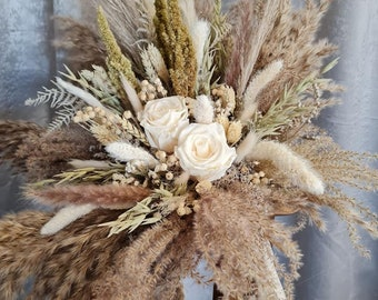 Set bridal bouquet Large with pin and hair ornament Infinity Rose Champagne dry flower bouquet boho bouquet dried flowers wedding
