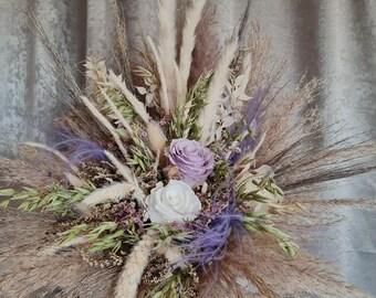 Bridal Bouquet Infinity Rose White Lilac Nature Dry Flower Bouquet Boho Bouquet Dry Flowers Wedding Dry Bouquet