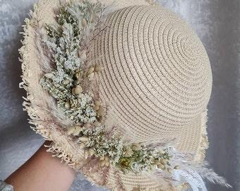 Bridal Hat Flower Jewelry White Dry Flowers Dried Boho Autumn Wedding Photo Shoot
