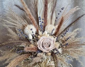 Set Bridal Bouquet with Pin Rose Grey Pampas Grass Dry Flower Bouquet Boho Bouquet White Dry Flowers Lavender Autumn Winter Wedding
