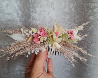 Hair Jewelry and Badge Bridal Jewelry Flower Comb Hair Came Dry Flowers Autumn Boho Wedding Photo Shoot Nature Accessories