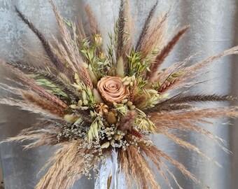 Set Bridal Bouquet with Pin Rose Nude Pampasgrass Natural Dry Flower Bouquet Boho Bouquet Dry Flowers Beach Wedding Autumn Wedding