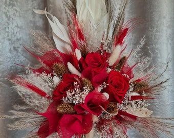 Set Bridal Bouquet with Pin Eternal Roses Red Dry Flower Bouquet Boho Bouquet White Gold Dried Flowers Autumn Winter Wedding Dry Bouquet