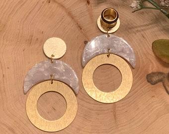 8g-58 BrownGold Square Hoop Lightweight Drop Dangle Earrings GaugesEarplugs Hider Plugs 16mm