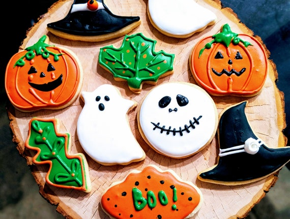 Biscotti di Halloween (Sugar Cookies,Jack-o-lantern Cookies,Jack Cookies,Ghost Cookies,Witch Hat,Favors,Fall,Party Favors,Cookie Favors,1 dozzina)