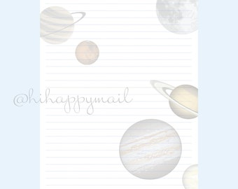 Planets Stationery Downloadable, Printable Planets Stationery, Letter and A4 Printables