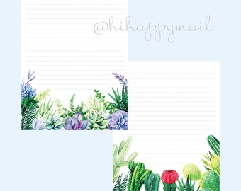 Colorful Succulents Stationery Downloadable, Printable Succulents Stationery, Letter and A4 Printables