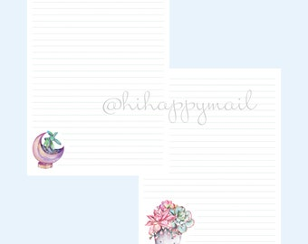 Succulent Arrangements Stationery Downloadable, Printable Succulent Arrangements Stationery, Letter and A4 Printables