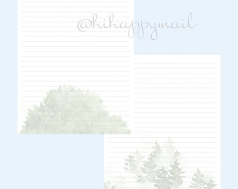Evergreens Stationery Downloadable, Printable Evergreens Stationery, Letter and A4 Printables