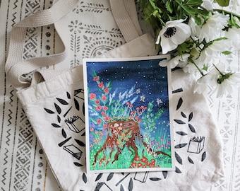 Midnight Garden Gouache Painting, Original Gouache Painting, Floral Painting