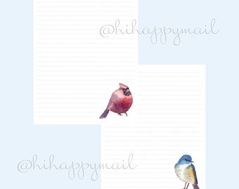 Bird Stationery Downloadable, Printable Bird Stationery, Letter and A4 Printables