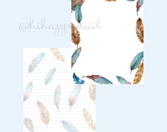 Feathers Stationery Downloadable, Printable Feathers Stationery, Letter and A4 Printables