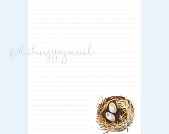 Nest Stationery Downloadable, Printable Nest Stationery, Letter and A4 Printables