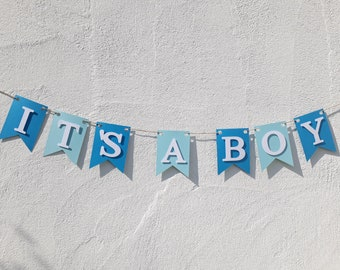 It's a boy garland paper pennant necklace for birth Baby Boy Baby party baby shower pennant paper garland decoration baby blue