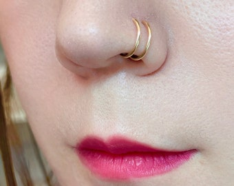 Nose Ring Double Nose Ring for Single Pierced Nose Hoops 14K Gold Nose Silver or Rose Gold Nose Ring Tiny Nose Ring Spiral Hoop Earrings