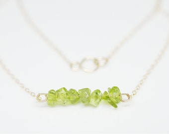 Raw Peridot Necklaces for Women, 14k Gold Necklaces dainty Gold Necklaces Peridot necklace Minimalist Jewellery