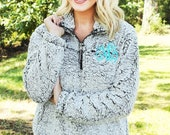 SALE Monogrammed Sherpa Pullover Fleece, Monogram Quarter Zip Sherpa Jacket, Women 39 s and Girls Monogrammed Sherpa Quarter Zip Pullover