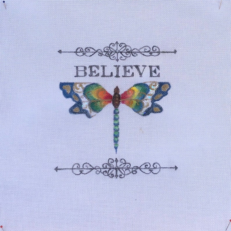 Hand Painted Needlepoint Canvas BELIEVE from our Serenity Series by Tracy Dau Designs
