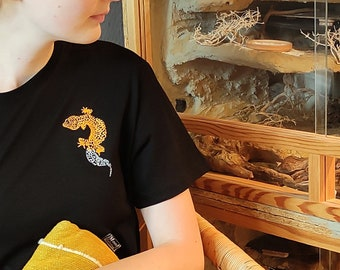 Leopard gecko Shirt for Gecko Dad or Gecko mom, organic cotton, Shirt for Reptile lover
