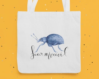 """Cotton bag for beetle friends """"Fear No Weevil"""", cotton fabric grocery tote bag, shopping bag"""